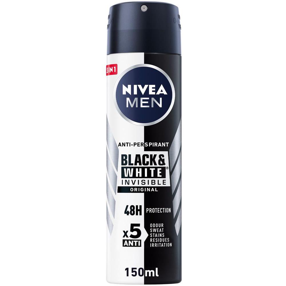 نيفيا مزيل للعرق سبراي إنڤيزيبل للملابس السوداء والبيضاء للرجال – 150 مل